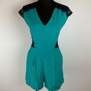 Bebe Into The Wild Lace Inset Romper 4 Green Black